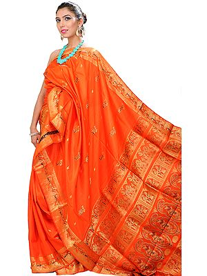Flame-Orange Baluchari Sari Hand-Woven in Bengal Depicting a Hindu Swayamvar