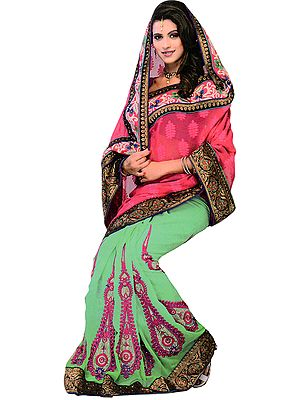 Pink and Green Designer Wedding Sari with Thread Embroidered Paisleys and Patch Border