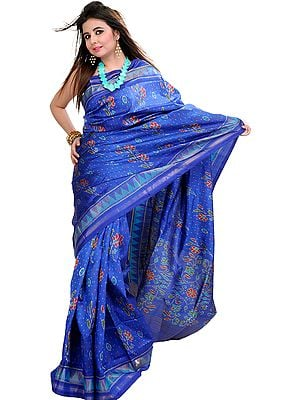 True-Blue Patan Patola Ikat Sari From Gujarat with Woven Flowers