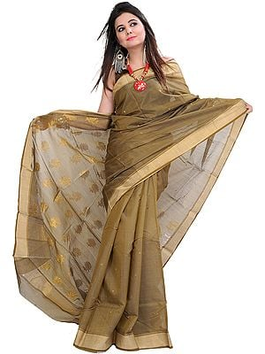 Gothic-Olive Chanderi Handloom Sari With Woven Bootis and Flowers on Aanchal