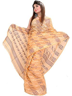 Peach-Cobbler Jamdani Sari from Bengal with Woven Flowers and Paisleys on Aanchal