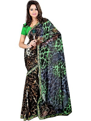 Leopard-Skin Printed Sari with Embroidered Patch Border