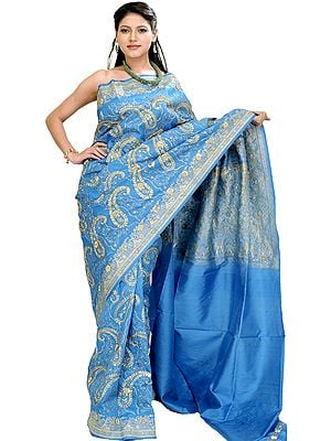 Blue-Jewel Banarasi Sari with Embroiderd Paisleys in Golden-Thread and Sequins