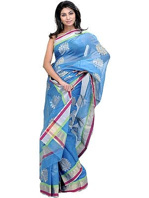 Methyl-Blue Chanderi Sari With Woven Leaves in Golden and Silver Thread