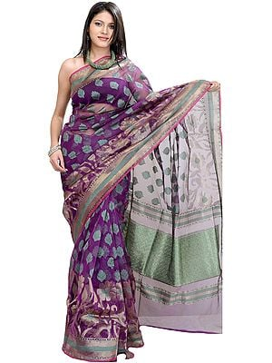 Purple-Magic Banarasi Sari With Woven Flowers and Brocaded Aanchal