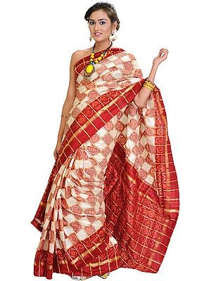 Cream and Red Ikat Sari Hand-Woven in Pochampally with Golden Thread Weave