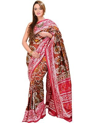 Friar-Brown Ikat Patola Sari from Pochampally with Hand-Woven Paisleys