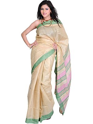 Marzipan-Colored Kosa Silk Sari from Jharkhand with Woven Stripes on Aanchal