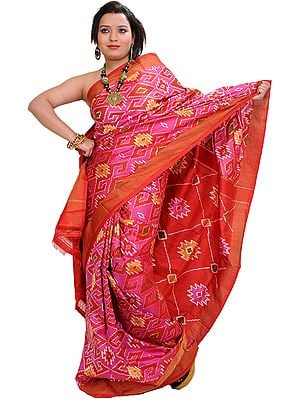 Pink and Red Gujarati Patan Patola Sari with Ikat Weave