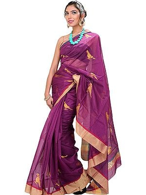 Purple-Wine Chanderi Sari with Hand-woven Parrots