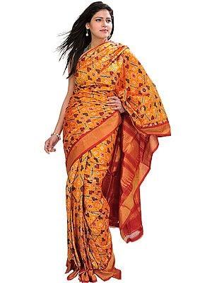Radiant-Yellow Paan Patola Ikat Sari from Pochampally with Tissue Border