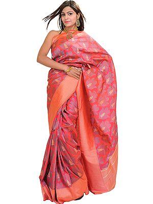 Geranium-Red Banarasi Sari with Woven Leaves and Wide Border