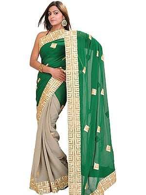 Silver-Sage and Green Shaded Wedding Sari with Golden Patch Border and Faux Pearls
