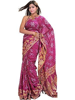 Wild-Aster Bandhani Tie-Dye Sari from Jodhpur with Floral Woven Border