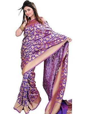 Royal-Lilac Banarasi Sari with Woven Flowers and Golden Border