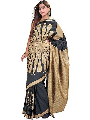 Phantom-Black Banarasi Sari with Woven Dancing Peacock in Golden Thread