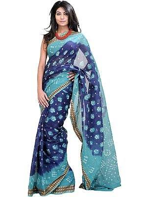 Blue and Green Shaded Bandhani Tie-Dye Sari from Rajasthan with Woven Border