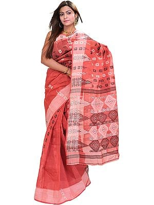 Baroque-Rose Tant Sari from Bengal with Woven Flowers