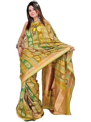 Palm-Green Banarasi Jamdani Sari with Woven Floral Motifs and Brocaded Pallu