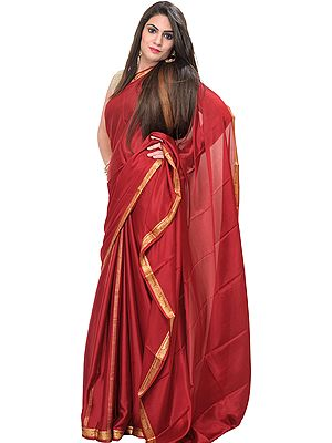 Brick-Red Plain Bridal Sari with Golden Thread Weave on Border