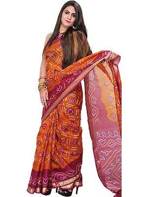Burnt-Orange and Pink Bandhani Tie-Dye Sari from Gujarat with Brocade Border