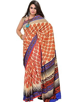Antique-White and Orange Sari with Printed Flowers and Ari-Embroidery