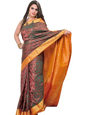 Metallic-Colored Sari from Bangalore with Woven Leaves and Brocaded Aanchal