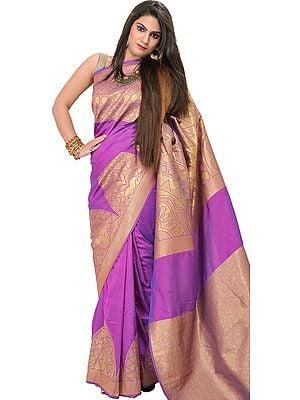 Hyacinth-Violet Banarasi Sari with Woven Temple Border in Golden Thread