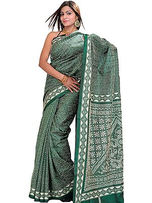 Dark-Green Sari from Kolkata with Kantha Embroidery by Hand