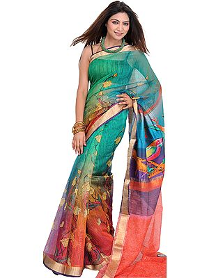 Tri-Color Sari with Digital-Printed Flowers and Golden Border