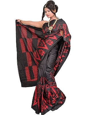 Jet-Black Handloom Sari from Pochampally with Single Ikat Weave