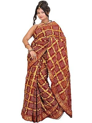 Hot-Chocolate Bandhani Gharchola Sari from Gujarat with Golden Thread Weave