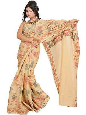 Banana-Crepe Banarasi Sari with Woven Flower All-Over