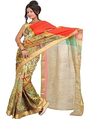 Golden-Olive Sari with Digital-Printed Sparrow on Anchal