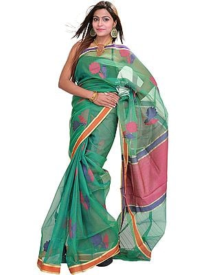 Fern-Green Sari from Varanasi with Woven Flowers and Plain Border