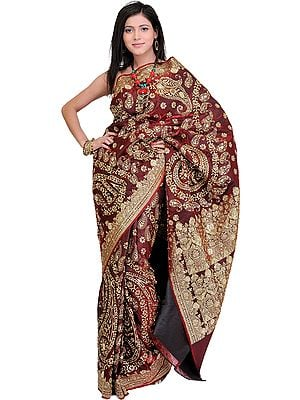 Cordovan Bridal Sari from Banaras with Metallic Thread Embroidered Sequins and Beads