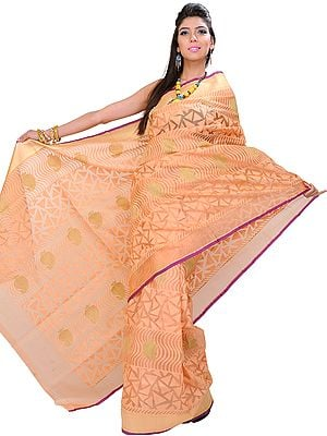 Peach-Nougat Banarasi Kora Sari with Hand-woven Paisleys