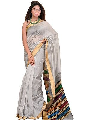 Silver Sari from Jharkhand with Woven Temples on Aanchal and Golden Border
