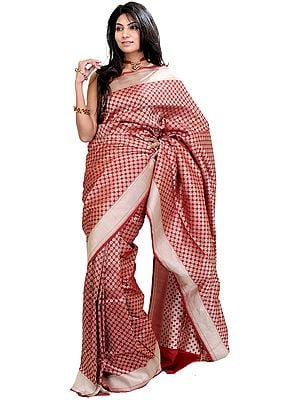 Garnet-Red Banarasi Sari with Woven Bootis All-Over and Silver Border