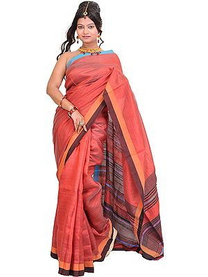 Cranberry-Red Sari from Jharkhand with Woven Stripes