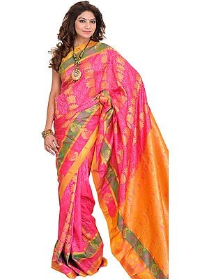 Honeysuckle-Pink Sari from Bangalore with Self Weave and Woven Paisleys on Pallu