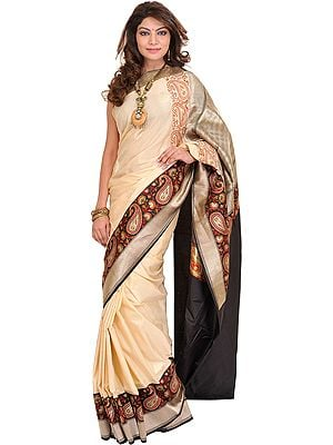 Antique-White Jamawar Sari from Banaras with Kadhwa Paisleys on Border