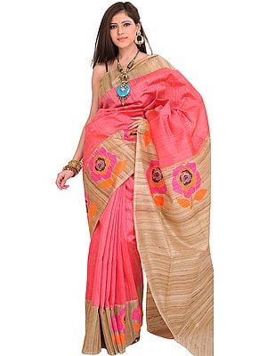 Sunkist-Coral and Beige Sari from Banaras with Hand-woven Roses on Border