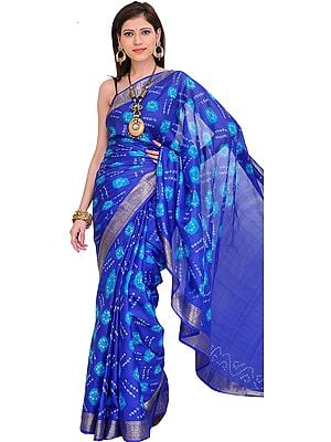 Vibrant Bandhani Tie-Dye Sari from Gujarat with Brocade Border