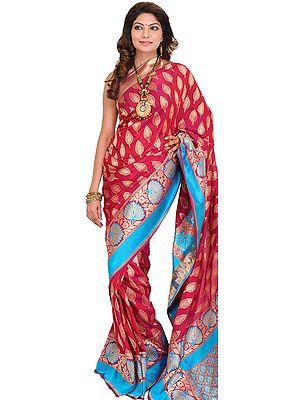 Sangria-Red Banarasi Jamawar Sari with Hand-woven Leaves and Brocaded Aanchal
