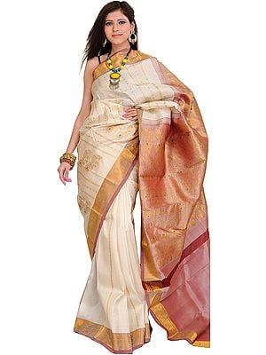 Ivory Kanjivaram Sari with Woven Flowers and Golden Thread Weave