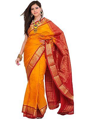 Golden-Glow Handloom Sari from Bangalore with Woven Paisleys on Aanchal