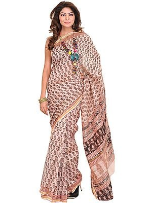 Cream-Pink Chanderi Sari with Kalamkari Printed Paisleys All-Over