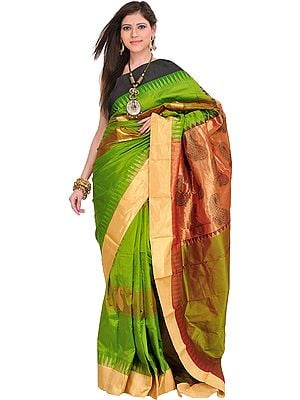 Peridot-Green Sari from Bangalore with Woven Paisleys and Temple Border