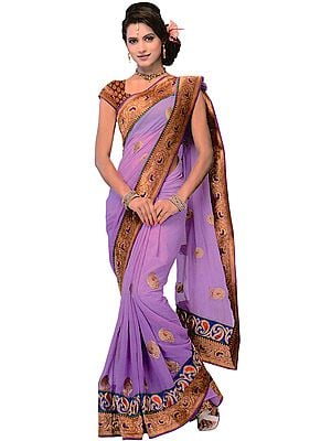 Viola-Purple Wedding Sari with Embroidered Paisleys and Brocaded Patch Border